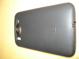 Perspective view of rear of phone. Camera flash used.