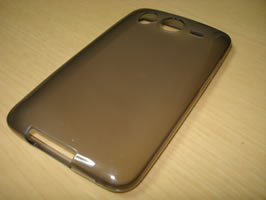 Diagonal top view of empty case on its front