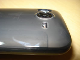 Side angled view of casing around camera lens