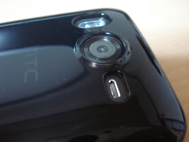 Top/Side view of Camera Lens, LEDs and Speaker