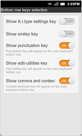 A.I.type Keyboard Plus - Bottom row keys selection