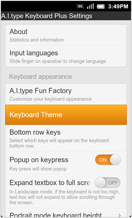 A.I.type Keyboard Plus - Keyboard Theme selector