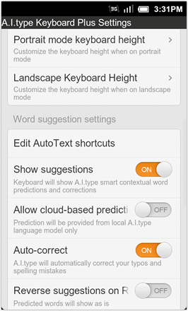 A.I.type Keyboard Plus - Settings - screen 2