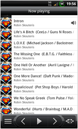 BinDroid HD GB V1.0 - Music plaer - Now playing list