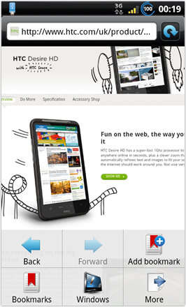 BinDroid HD GB V1.0 - Internet browser options