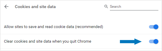 Clear cookies and site data when you quit Chrome