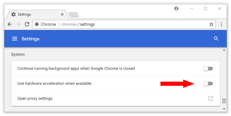 Turn off Hardware Accleration in Chrome settings
