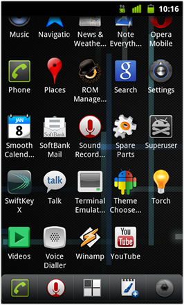 Cyanogenmod7 [Nightly] screenshot from HTC Desire HD - App tray with a couple of extra apps added