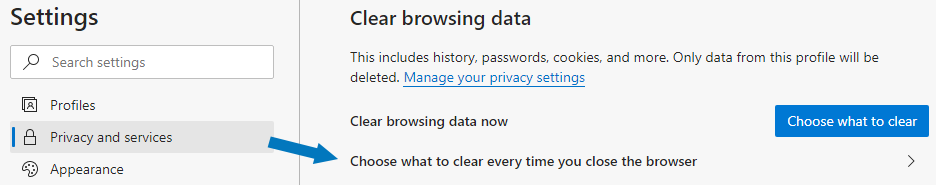 Microsoft Edge - Choose what to clear every time you close the browser