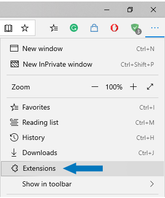 Microsoft Edge - select Extensions