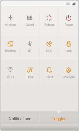 MIUI 1.8.26 v.2: Freshly Squeezed Edition™ - Toggle screen