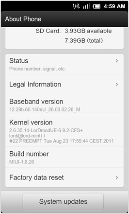 MIUI 1.8.26 v.2: Freshly Squeezed Edition™ - Software Information