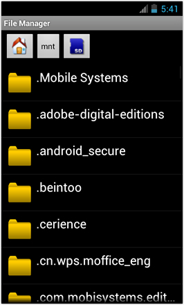 [BETA V] Ice Cream Sandwich for Desire HD - screenshot from HTC Desire HD - File Manager