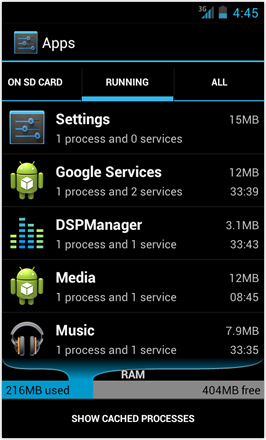 [BETA V] Ice Cream Sandwich for Desire HD - screenshot from HTC Desire HD - Running Apps