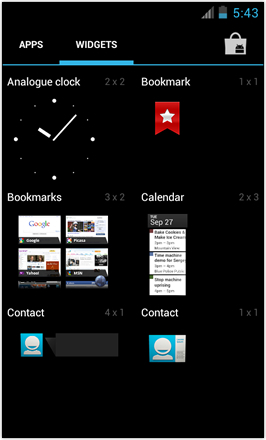 [BETA V] Ice Cream Sandwich for Desire HD - screenshot from HTC Desire HD - Widget drawer 1