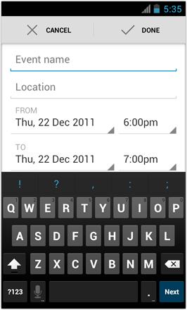 [BETA V] Ice Cream Sandwich for Desire HD - screenshot from HTC Desire HD - Set Calendar appointment