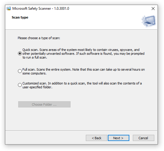 Microsoft Safety Scanner Scan type