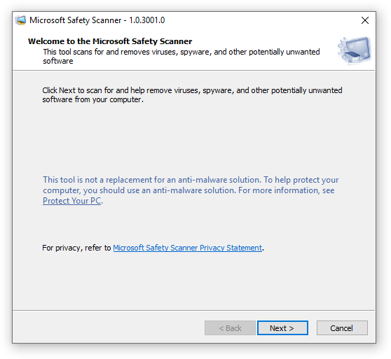 Welcome to the Microsoft Safety Scanner