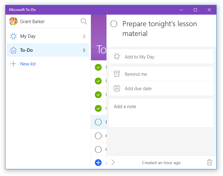 Microsoft To-Do (Purple theme and Add a note option)