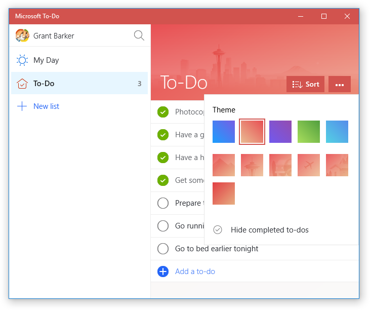 Microsoft To-Do (Red theme and theme picker)