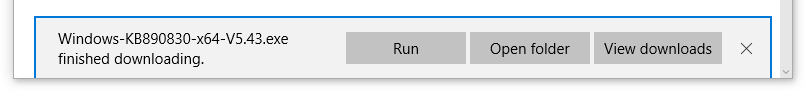 Image showing Run, Open folder and View downloads