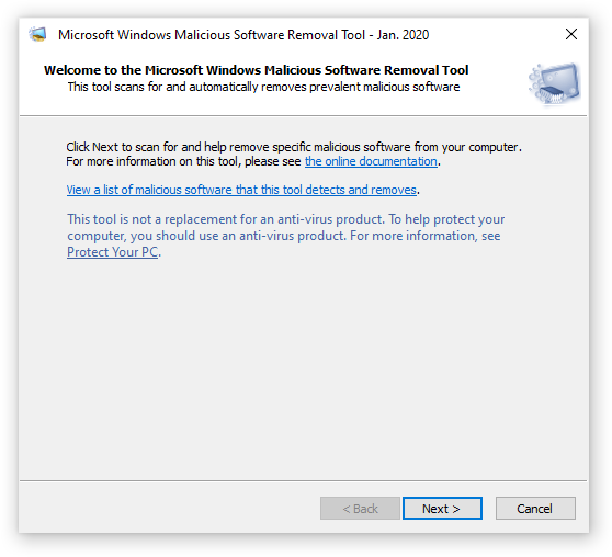 Welcome to the Windows Malicious Software Removal Tool - screenshot