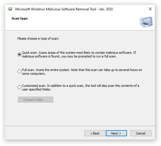Choose a scan type for Microsoft Windows Malicious software Removal Tool