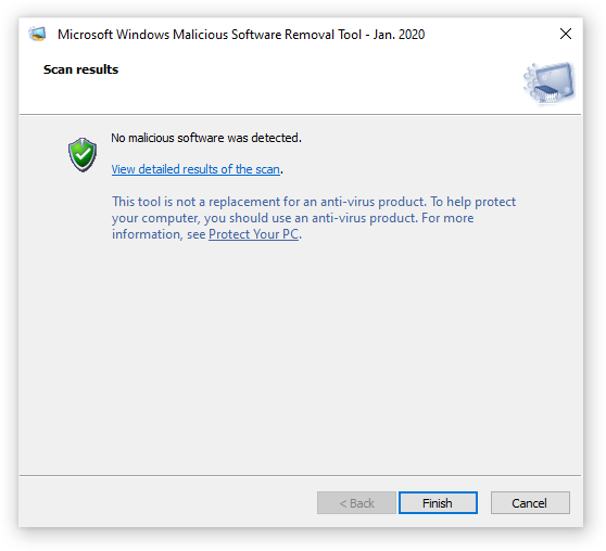 Scan results for Microsoft Windows Malicious software Removal Tool