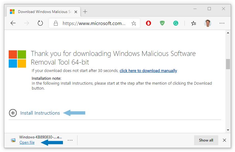 Install instructions link on website / Click Open file