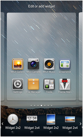 DHD NDT MIUI GINGER V5.0 - Edit or Add widget to homescreen