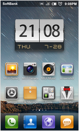 DHD NDT MIUI GINGER V5.0 - Homescreen
