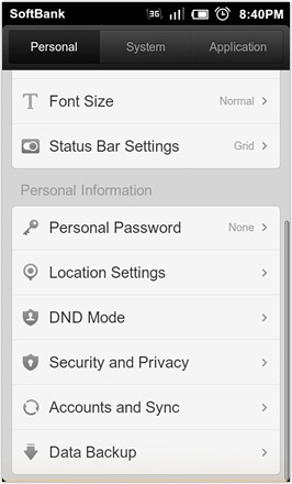 DHD NDT MIUI GINGER V5.0 - Settings - personal 2