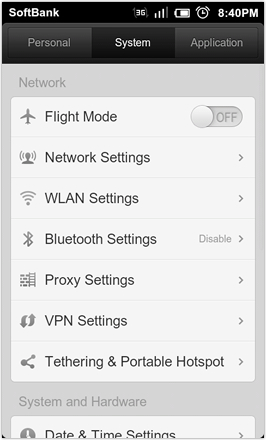 DHD NDT MIUI GINGER V5.0 - Settings - system