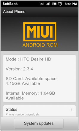 DHD NDT MIUI GINGER V5.0 - About Phone - screenshot 1
