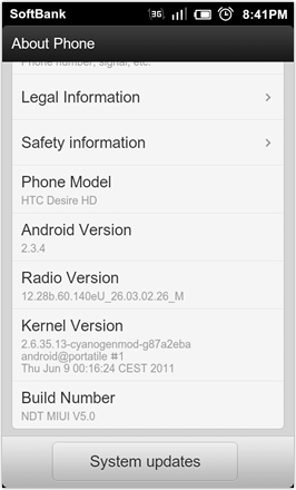 DHD NDT MIUI GINGER V5.0 - About phone - screenshot 2