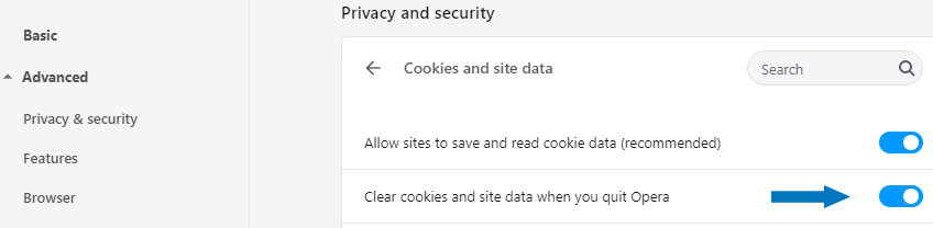 Clear cookies and site data when you quit Opera
