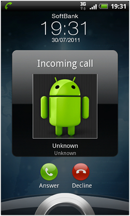 RCMix3D Aztec V1.0 - screenshot from HTC Desire HD - Incoming call