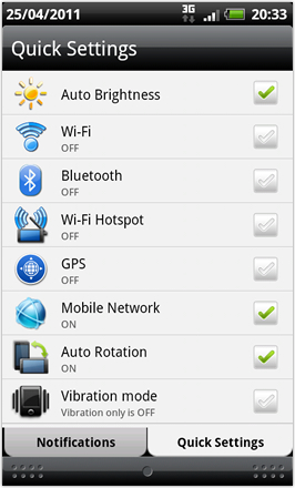 RCMix HD screenshot from HTC Desire HD - Quick Settings