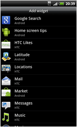 RCMix HD screenshot from HTC Desire HD - Add Widget