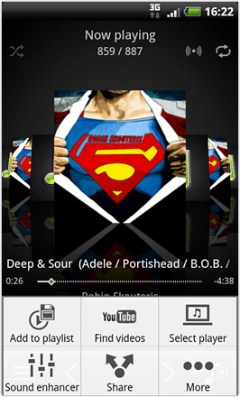 Android Revolution HD 3.6 - Music Player options