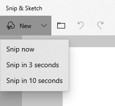 Snip now or in 3 or 10 seconds
