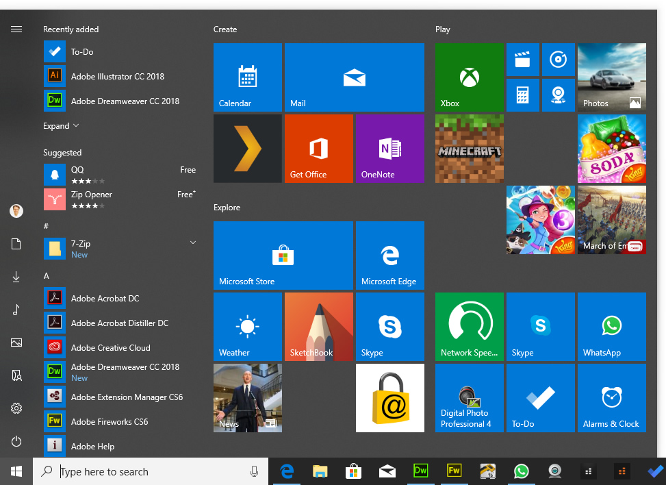 Thumbnail Image of Start Menu - What's new in Windows 10?