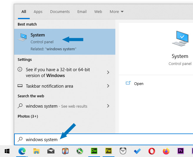 Search for Windows system