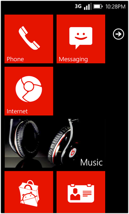 WP7.0.3 Ace Edition -  Screenshot from HTC Desire HD - Homescreen Red stock accent