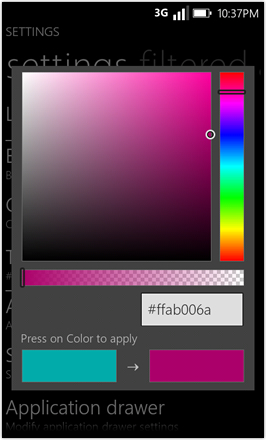 WP7.0.3 Ace Edition -  Screenshot from HTC Desire HD - Custom color picker for tiles