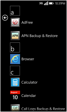 WP7.0.3 Ace Edition -  Screenshot from HTC Desire HD - App drawer