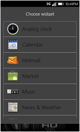 WP7.0.3 Ace Edition -  Screenshot from HTC Desire HD - Choose widget