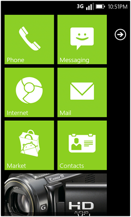 WP7.0.3 Ace Edition -  Screenshot from HTC Desire HD - Lime stock accent