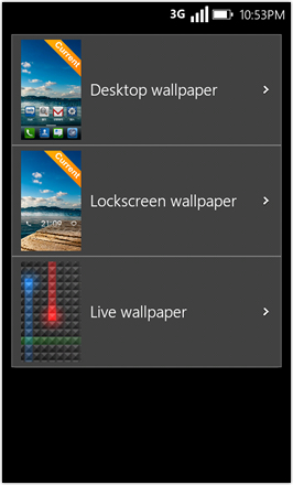 WP7.0.3 Ace Edition -  Screenshot from HTC Desire HD - Choose wallpaper