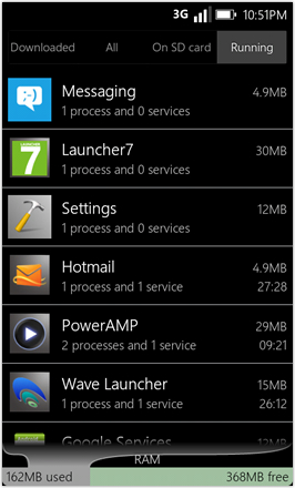 WP7.0.3 Ace Edition -  Screenshot from HTC Desire HD - Running apps